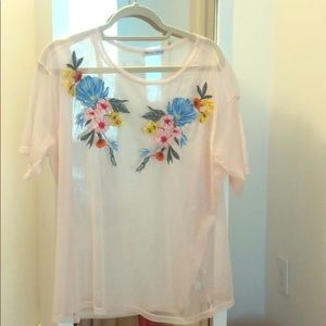 Zara floral and tulle T-shirt size XL